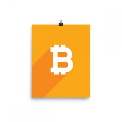 orange flat design minimalist bitcoin poster