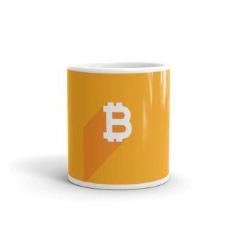 minimalist bitcoin logo coffee mug