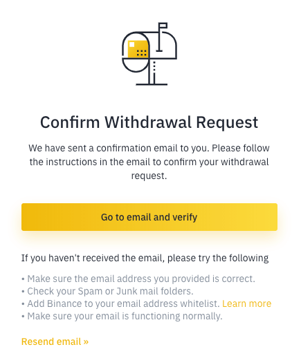binance confirmation email