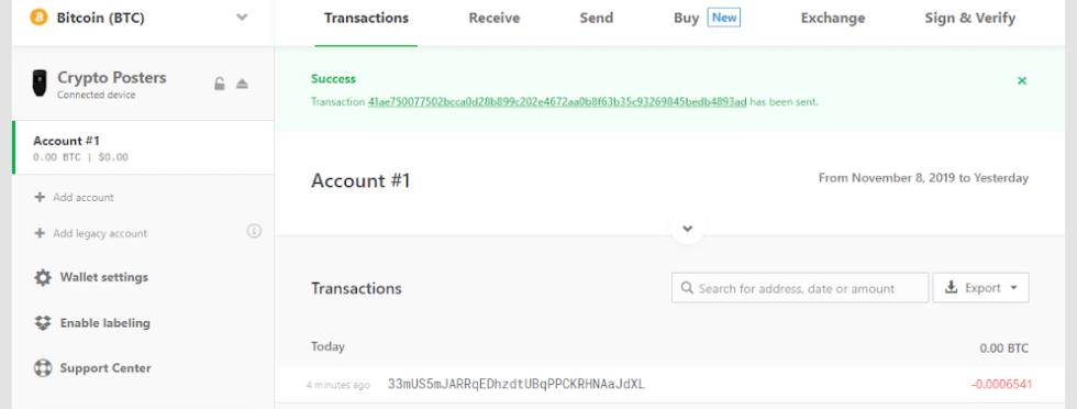 trezor address sending confirmation