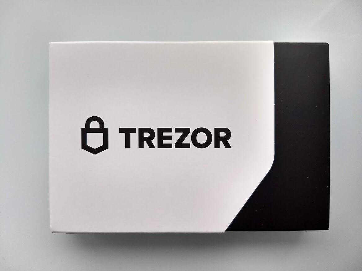 front of trezor model t box