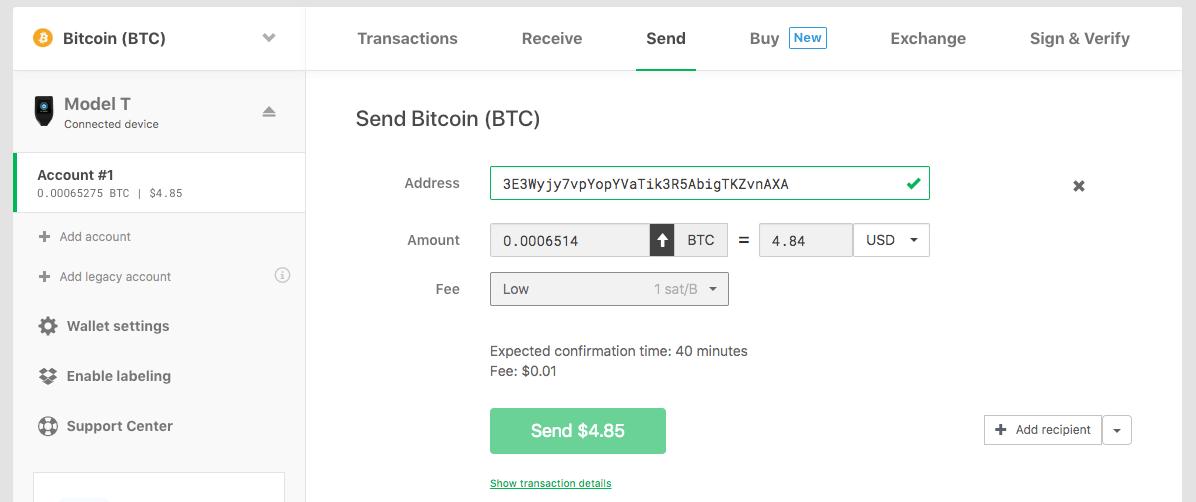 sending transaction with model t