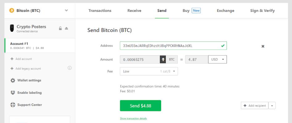 sending trezor transaction