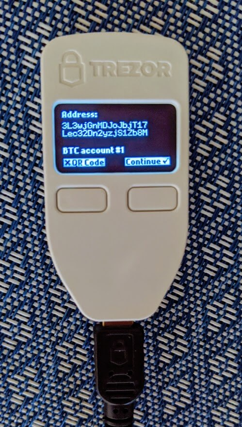 trezor one displaying address