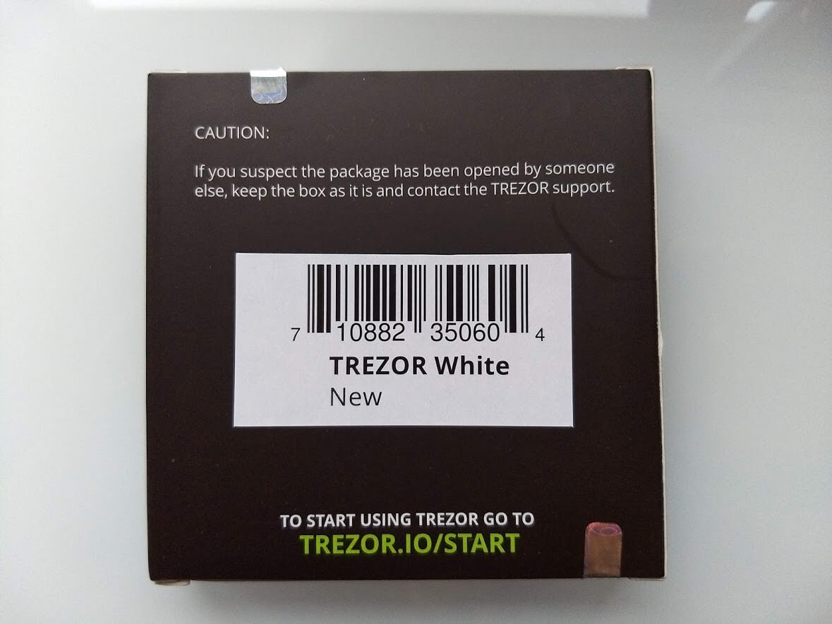 back of trezor one box
