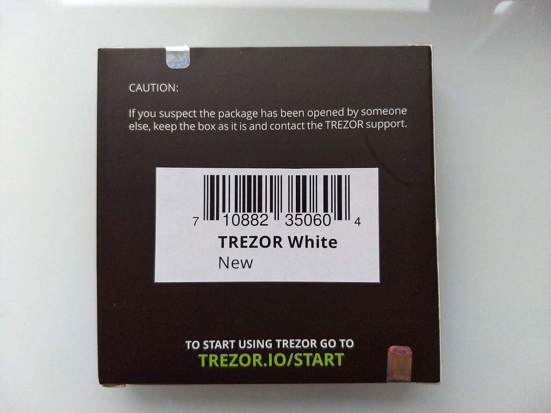 back of trezor one box