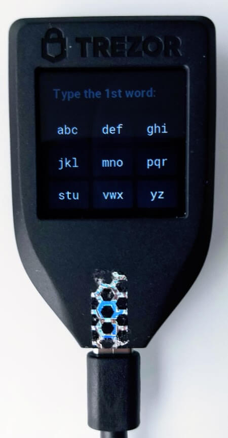 type trezor words