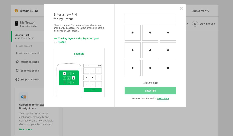 wallet interface pin selection