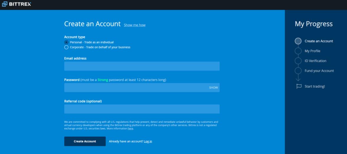 bittrex account screen
